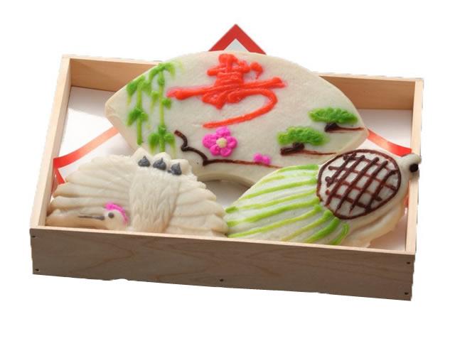 細工かまぼこ 祝い鶴亀3品